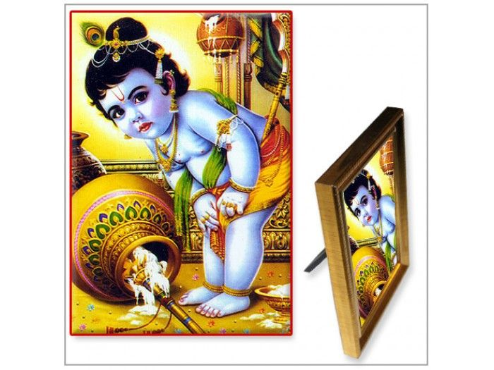 Bal Krishna : Milk matures and transforms into curd. By churning the curd - butter gets separated and begins to float. This is what krishna is after.  A devotees mind is compared to milk which through constant devotion matures and slowly he begins to separte himself from wordly attachment, friends and families like butter separting from curd. At this stage, the devotee need not have to go insearch of his lord instead lord himself comes to him. This is the meaning behind Krishna going after…