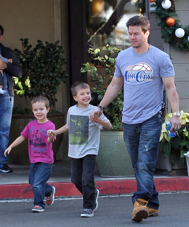 Mark Wahlberg with his cute sons Michael and Brendan