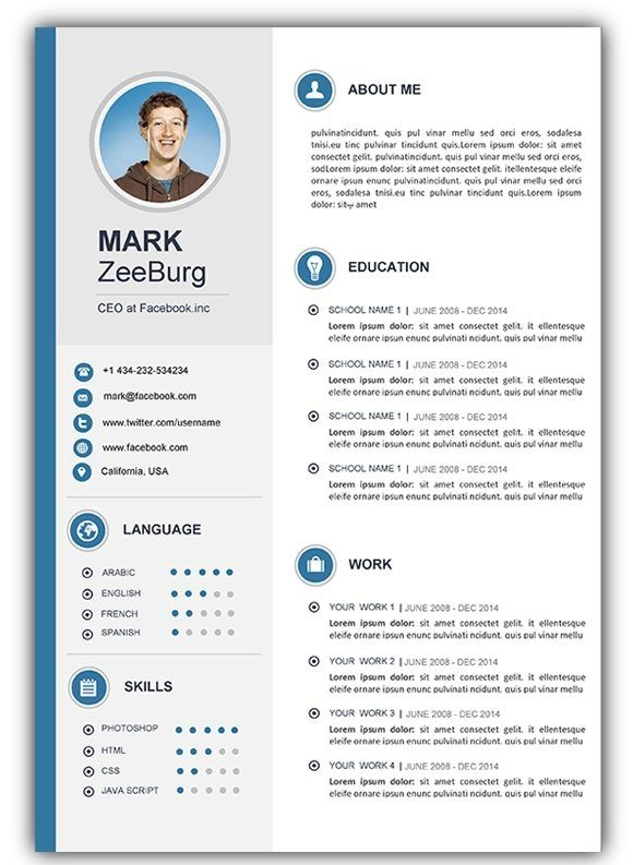 Free Resume Templates Doc Resume Doc Template Visual Resume Within - Template-resume-word