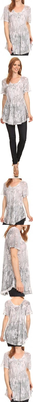 Sakkas 16788 - Maliky Wide Corset Neck Floral Embroidered Cap Sleeve Blouse Top Shirt - White - OSP