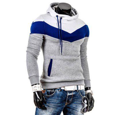 Slimming Trendy Hooded Personality Color Splicing Long Sleeves Men's Thicken Hoodies
