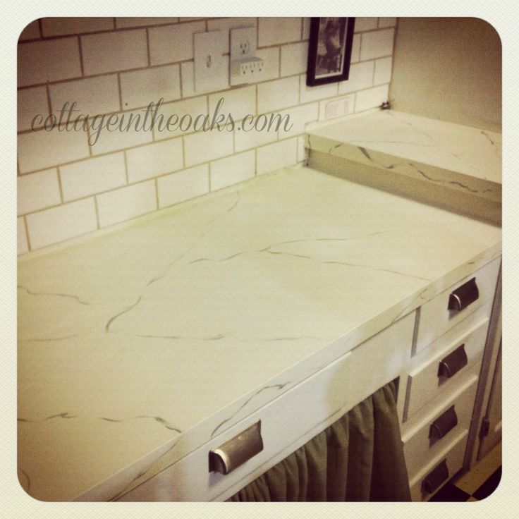 Carrara marble painted countertops #diy