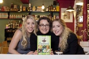 Patricia Messom, owner of The Stuffed Olive cafe in Bantry, Co Cork pictured with her daughters Sarah and Grace O'Shea at the launch of her new cookery book. Pic: Clare Keogh