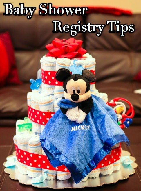 Colorful Disney Mickey Diaper Cake Centerpiece, I Made One Like This One  But I Put A Lot More Mickey Baby Toys On It.