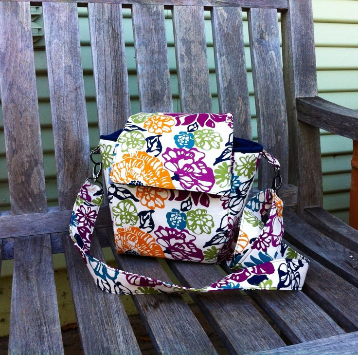 Flower Lunch Tote with Adjustable Cross Body Strap and Bottle Pocket by MyaCdesign on Etsy