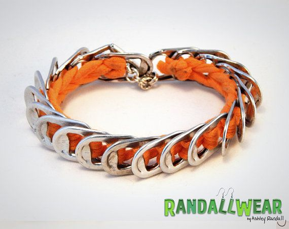 Upcycled Soda Pop Tab and Orange Tee-Shirt Bracelet - www.randallwear.etsy.com