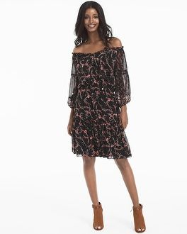 Off-the-Shoulder Mixed Floral Print Dress - White House Black Market