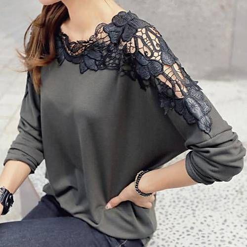Lace Splice Shoulder Loose Shirt