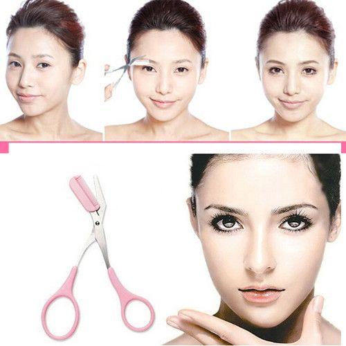 Alta qualidade tesoura de cabelo tesoura sobrancelha Trimmer sobrancelha pente cílios maquiagem cosméticos para mulheres # ND063 alishoppbrasil