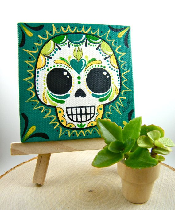 3x3 Sugar Skull Canvas Painting by MyMayanColors on Etsy. Original Art by My Mayan Colors (Ruth Barrera). All images are the sole property of My Mayan Colors and not intended for copy