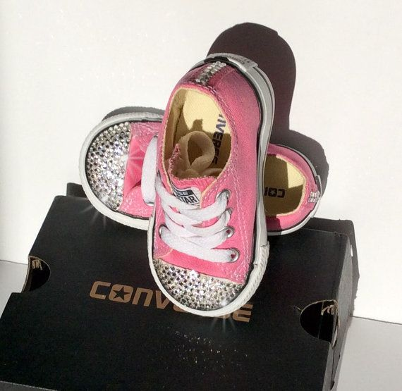 #baby #cute #Bling Baby Shoes: Pink Bedazzled Baby Converse  by JezelleDesigns #pink