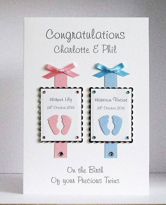 Karte Baby.New Baby Twins Congratulations Card Handmade Personalised