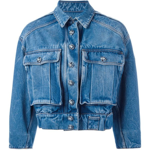 Dolce & Gabbana cropped denim jacket ($1,995) ❤ liked on Polyvore featuring outerwear, jackets, blue, embellished jean jacket, cropped jacket, button jacket, collar jacket and blue denim jacket