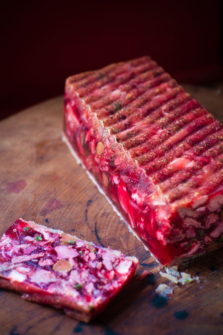 Ham hock-beetroot and horseradish terrine.