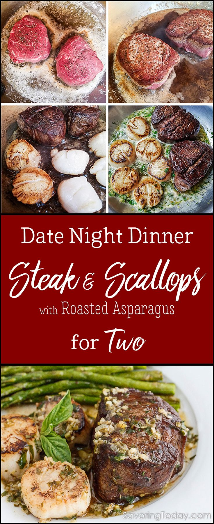 Scampi-Style Steak & Scallops recipe with Roasted Asparagus is an impressive dish, takes only a few minutes to prepare and the cost will be easier to stomach too. Tenderloin steak is seared in butter then finished with scallops in accents of lemon zest, white wine, garlic, and fresh basil for surf-n-turf heaven. You won't believe how easy it is to skip the crowded restaurants and enjoy an amazing date night dinner at home.