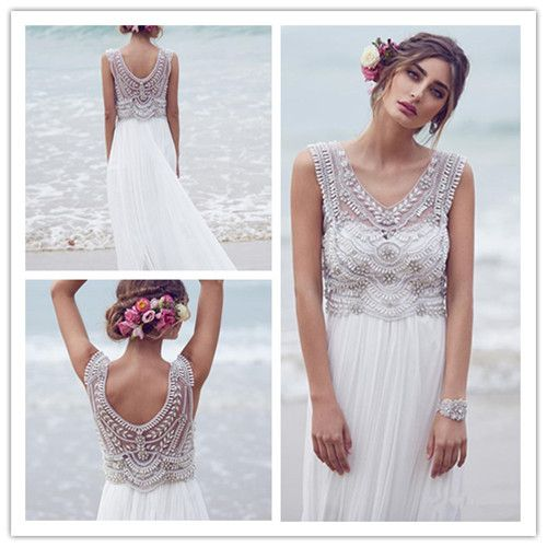 Find More Wedding Dresses Information about Beach Wedding Dresses 2017 Scoop Sleeveless Backless Sweep Train Chiffon with Beading Crystal Sheath Bride Gown Vestido De Noiva,High Quality chiffon ombre,China chiffon blue dress Suppliers, Cheap chiffon satin wedding dress from bridalkiss on Aliexpress.com