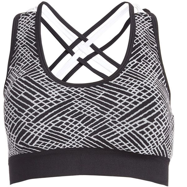 Ellen Tracy Black & White Spaghetti Cross-Strap Seamless Sports Bra ($13) ❤ liked on Polyvore featuring activewear, sports bras, seamless sports bra, ellen tracy activewear, long sports bra, strappy sports bra and ellen tracy