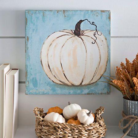 Harvest Blue Pumpkin Canvas Art Print | Kirklands