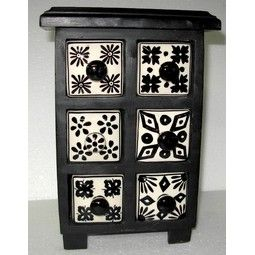 CHEST 6X DRAWERS BLACK & WHITE - Gift Directory