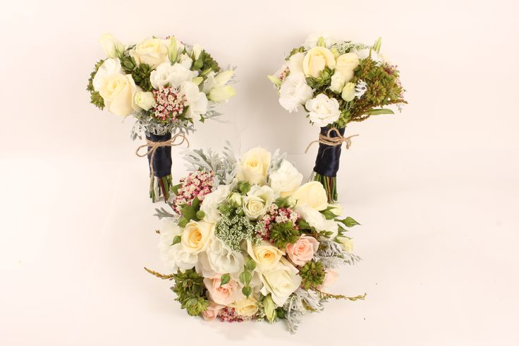 White, ivory and blush bouquets - Rustic wedding flowers made by Amy's Flowers