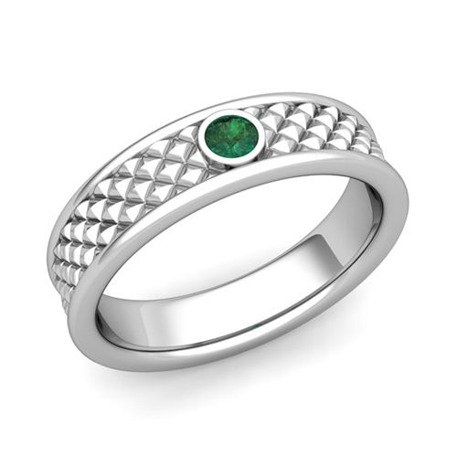 Stunning Solitaire Emerald Anniversary Ring in k Gold Diamond Cut Wedding Band mm This