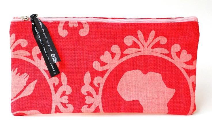 Pencil cases  Design: Protea red  Unique hand printed woven fabrics  100% Cotton  Size: 12 x 24