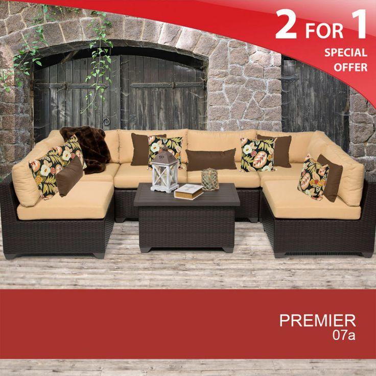 Premier 7 Piece Oversized Outdoor Wicker Patio Furniture Set   Sesame 07a  #TKClassics