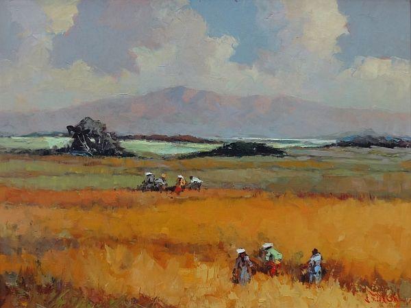 Lucien Frits Ohl (1904-1976) - Arbeiders in een rijstveld