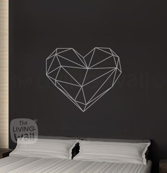 "Geometric Heart.  Measurements: 65cm x 56cm / 25.6 x 22  Check out our other geometric wall decals here: https://www.etsy.com/au/shop/LivingWall?ref=hdr_shop_menu§ion_id=7752280  Color Options: *Important* Please specify your choice of color in the ""message to seller"" box, if not specified you will be sent the color used in the photo; White.  Australian Made."