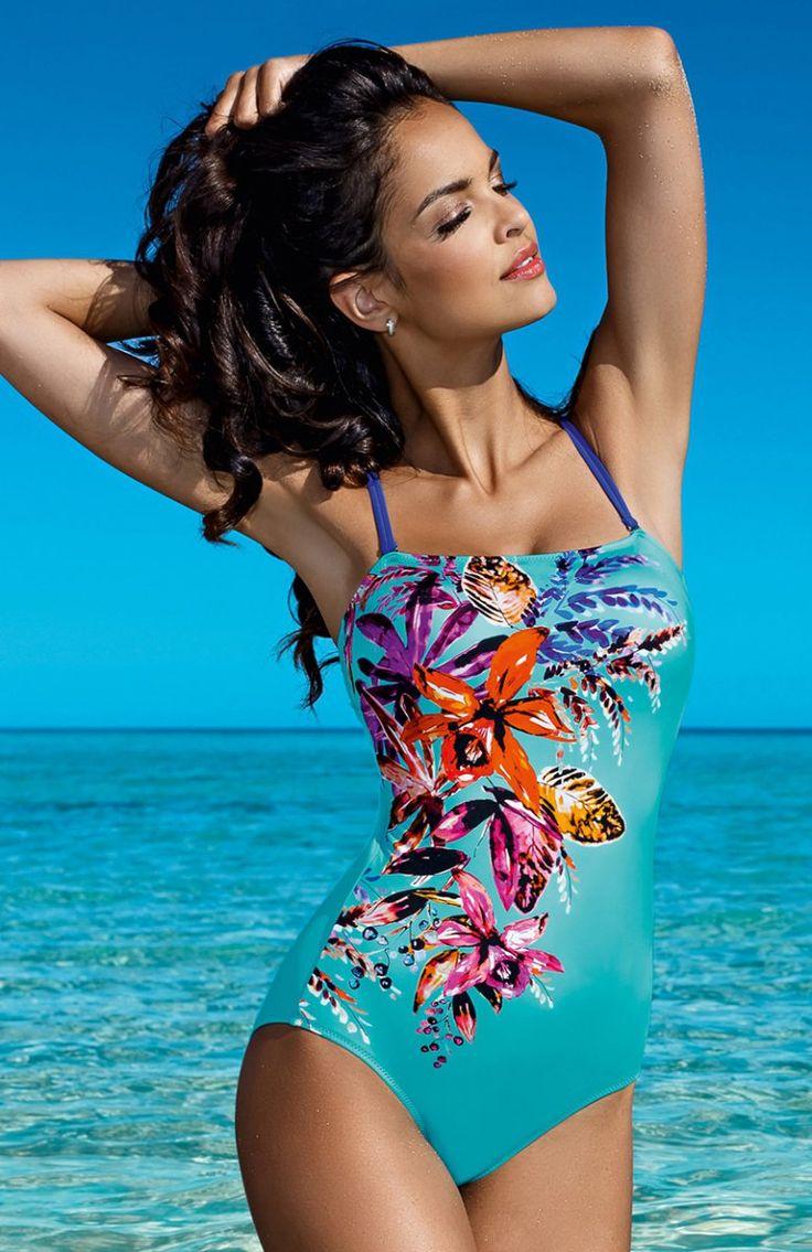 Lorin L4033/6 kostium kąpielowy Przepiękny jednoczęściowy kostium kąpielowy, przód zdobi piękny kwiecisty wzór, miseczki piankowe, zapinany na plecach