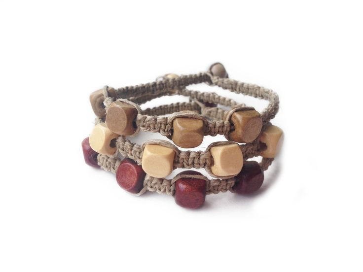 BOBBY BOO: Natural Hemp Cord with Wood Square Seed Beads