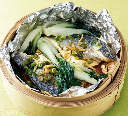 a shy attempt at cooking fish - turned out pretty good // Steamed bass with pak choi