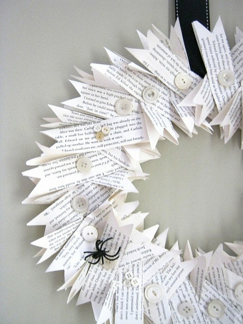 Halloween wreath - I saw no instructions anywhere but it seems to be a simple one. Cut up papers, grab buttons, needle and thread. I prefer this since the paper will hold well, although you can use the hot glue as well (it's faster!)