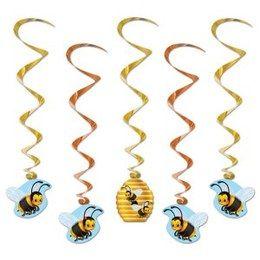 Hangdecoratie Whirls Bijen -  Vijf leuke hangdecoraties met onderaan decoraties van leuke bijen. Leuke decoratie voor tropische zomerfeesten. Lengte: 100cm. | www.feestartikelen.nl