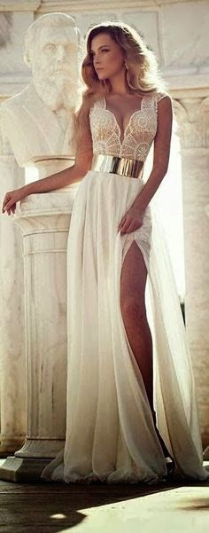 Elegant white lace chiffon prom dress with gold belt + side slit, long evening dress