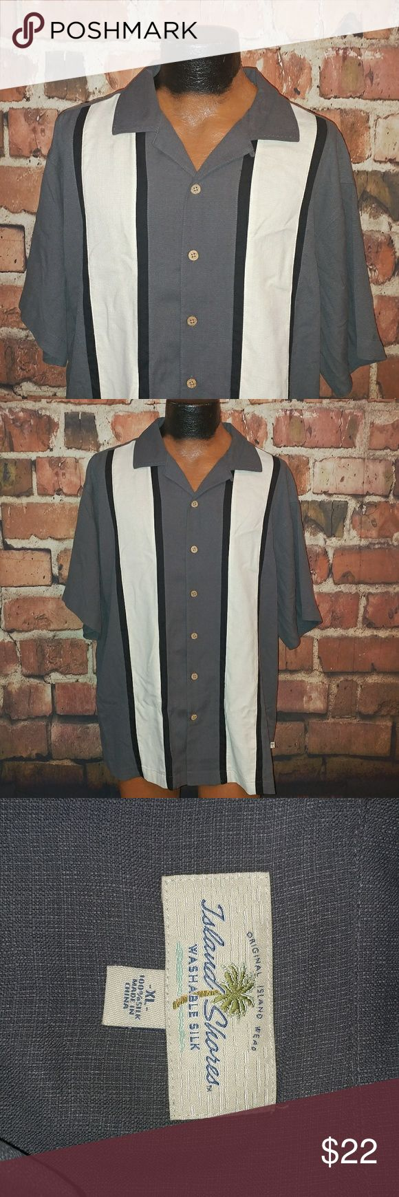 "Island Shores Mens Silk Shirt XL Island Shores Mens Shirt XL Washable Silk Charlie Sheen Rockabilly Black Gray SS   Good Condition! See Pics!   Pit to Pit 22""  Collar to Bottom 33""   Any Questions Please Ask!   A4 Island Shores Shirts Casual Button Down Shirts"