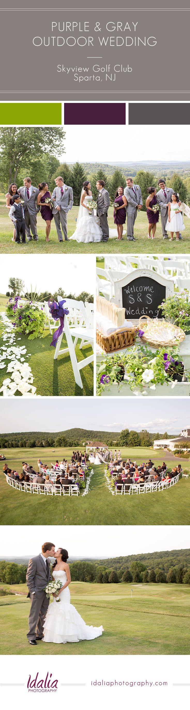 Plum and Gray Outdoor Wedding | Skyview Golf Club Wedding | Sparta, NJ
