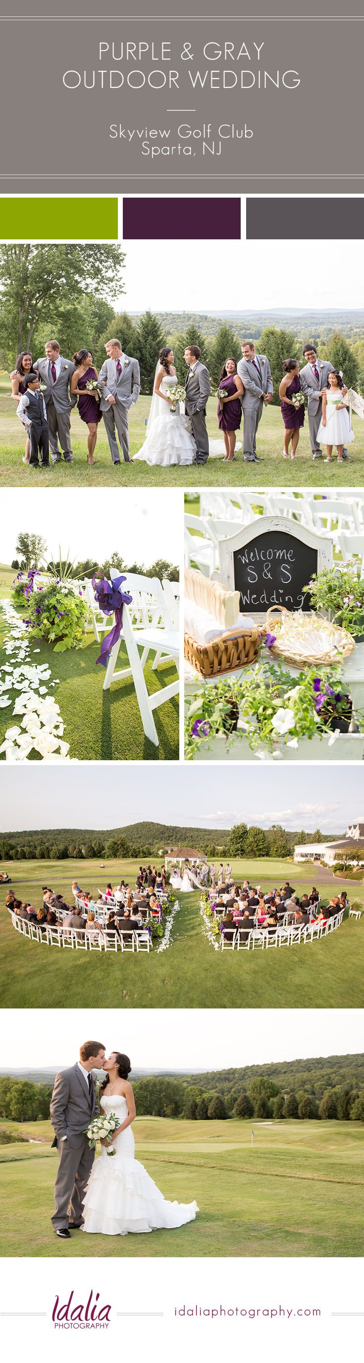 Plum and Gray Outdoor Wedding | Skyview Golf Club Wedding | Sparta, NJ