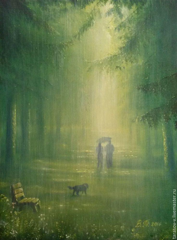 Купить Авторская картина Зеленый дождь - зеленый, дождь, собачка, летний пейзаж, желтый, белый