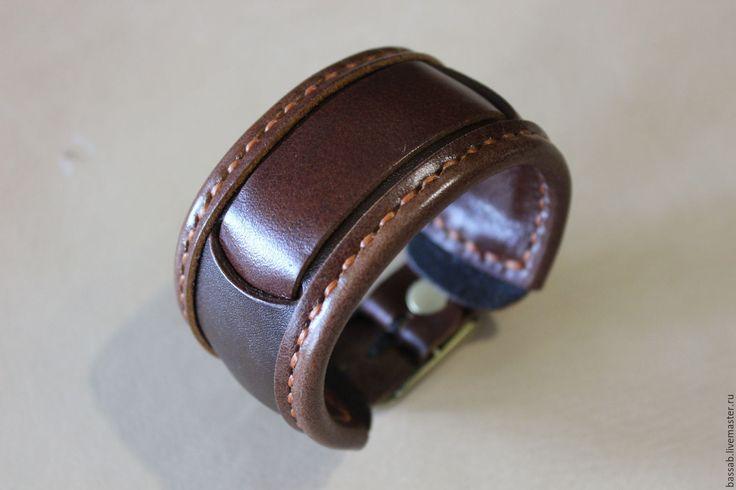 Купить Кожаный ремешок для часов. - коричневый, Браслет ручной работы, браслет для часов, ремешок для часов