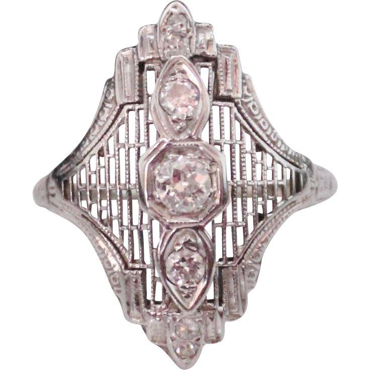 Fancy ART DECO 18k White Gold Filigree Euro Cut Diamond Ring, .35 CTW, Size 8, $550.00