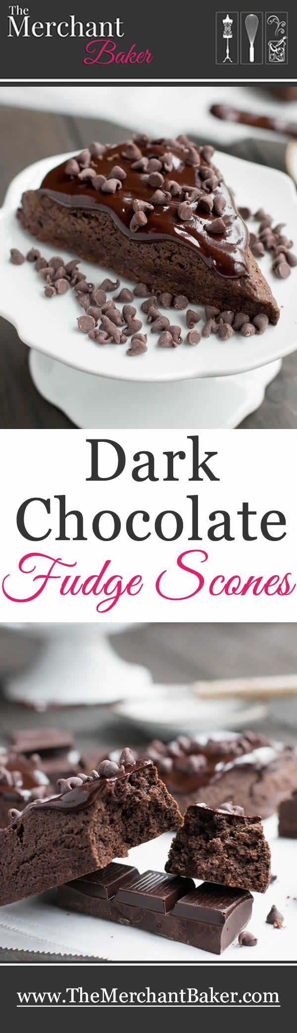 Dark Chocolate Fudge Scones are lightly sweetened, yet rich with dark cocoa, butter and cream, then topped with a dark fudgy ganache and mini chips.
