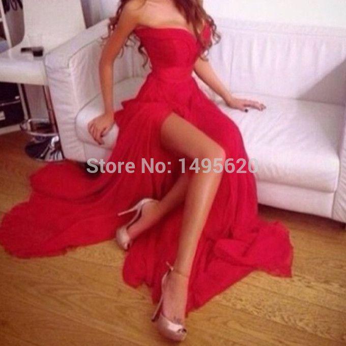 Девушки платья мода высокая ил сексуальное платье из шифона красный платье для выпускного бала бесплатная доставка