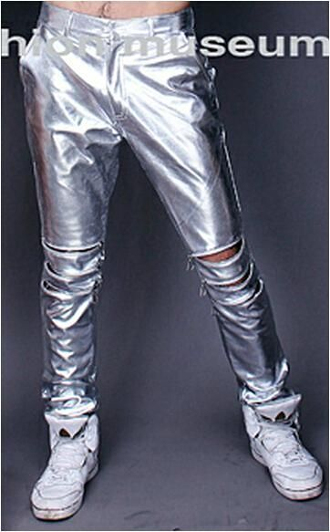 men's brand fashion stage DS Bar nightclub singer dance plus size leather pants pu trousers costumes clothing