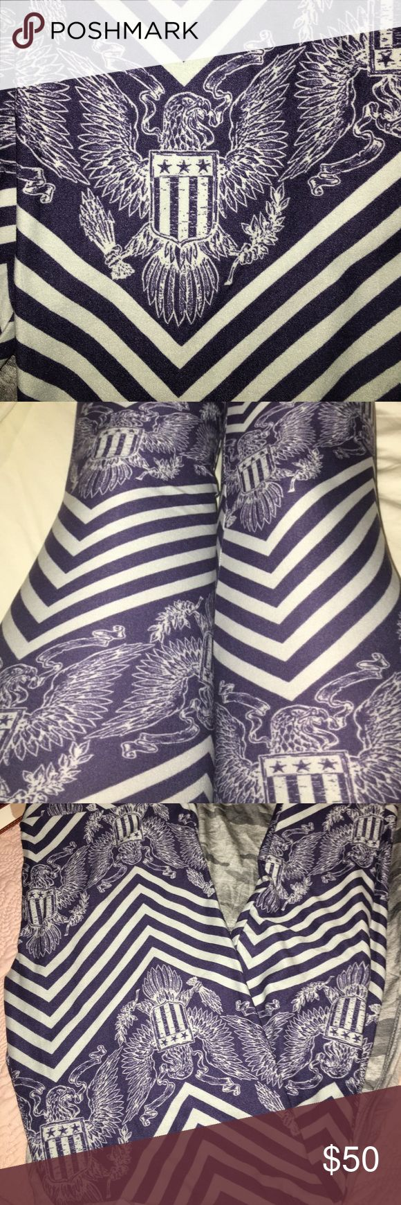 Lularoe Ealge/Chevron Leggings OS Worn once to try on (and take pic), NWOT, perfect condition, navy & grey. Presidential Seal (Eagle) & Chevron. Paid $60, I understand that the original price of LulaRoe Leggings is generally $25 plus shipping, but these are part of the Americana Collection, and I paid more to get them. LuLaRoe Pants Leggings