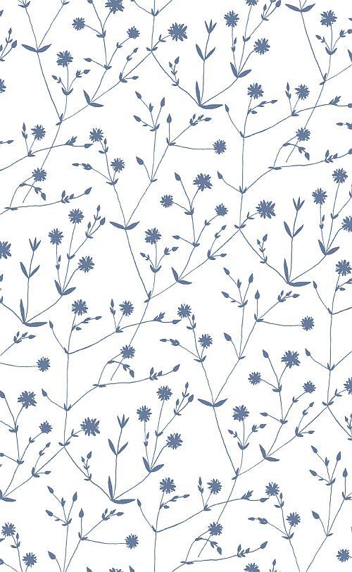 Illalla Blue on White wallpaper by Marimekko