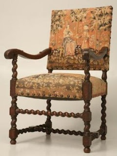 Antique oak throne chair, English style, circa 1790, hand-carved, barley twist, needlepoint. I use it to describe Mother Eugenia's chair that became the hair pressing chair.