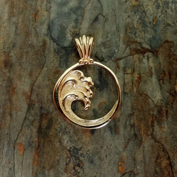 Wave pendant or charm in silver or 14k gold.  Ocean jewelry all handmade in USA,