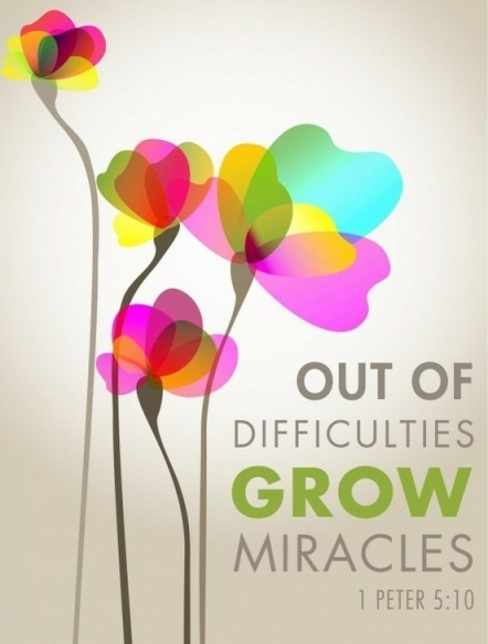 Out of difficulties grow miracles. ~Jean de la Bruyere~
