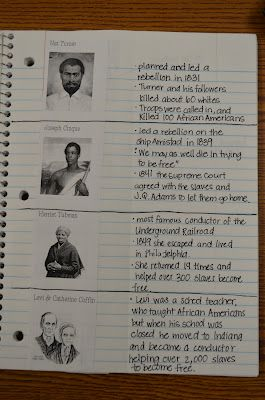 Love that this journal is so simple. Post picture of historical figure on the left and put your notes on the right.